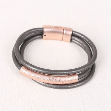 Three Banded Textured Curved Bar Bracelet