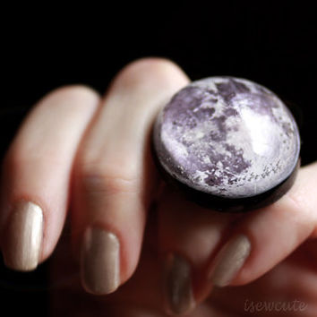 Spring Equinox Jewelry, Full Moon Cosmic Ring, Out of this World Fashion Statement Modern Resin Outer Space, Galaxy Theme Jewelry