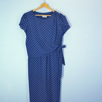 70s 80s Flutter Dress Polka Dot Navy Blue Tie Waist Blousy
