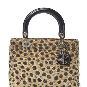 Christian Dior Women's Leopard Cannage Quilted Canvas Lady Dior Medium