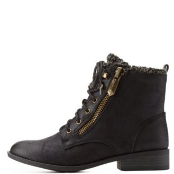 Black Shearling-Lined Combat Booties by Qupid at Charlotte Russe