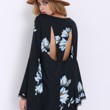 Floral Dress Spring - Black Long Sleeve Patterns Floral Print Dress