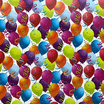 Birthday Party Gift Wrap Wrapping Paper, Balloons (8 Rolls 5ft x 30in)