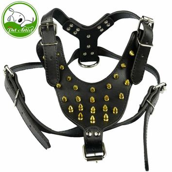 Dog PU harness Black White Pink Cool Spiked Studded PU Leather Dog Harness Large Dog Pitbull Bully Husky Terrier big dog harness