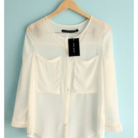 Women Loose New Style 3/4 Sleeve Pure Color Chiffon V Neck Buttons White Shirt @II0018w $14.59 only in eFexcity.com.