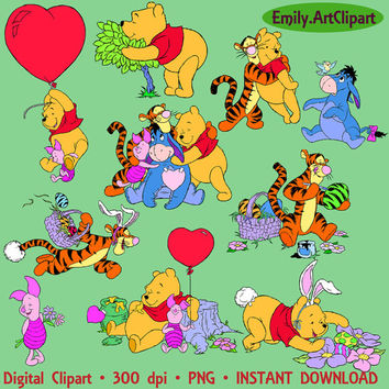 Winnie The Pooh Clipart 30 PNG Tigger Eeyore Piglet Burro Disney Cartoon Character Digital Graphic Clip Art Invitations Printable 300 dpi