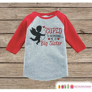 Big Sister Valentine's Outfit - Pregnancy Announcement Onepiece or Tshirt - Cupid Shirt for Girls - Big Sister Pregnancy Reveal - Red Shirt