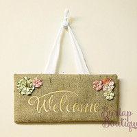 Embroidered Burlap Welcome Door or Wall Hanging