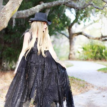 L Stevie Nicks 24 Karat Dress, Black lace maxi, True rebel clothing