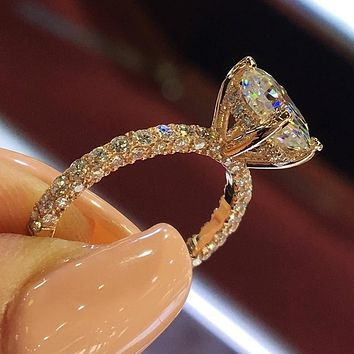 Sparkling 925 Sterling Silver In Gold Filled White Blue color Ring Engagement Bridal Wedding Band Rings Jewelery