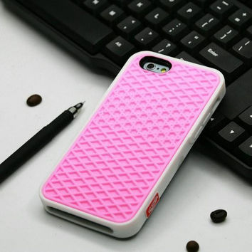 Vans Off The Wall Shoes Sole Soft Rubber Silicone Pink With White Cover Case For iPhone 6/6s