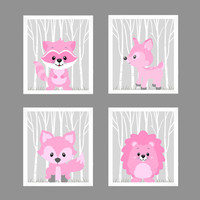 Woodland Animals in Pink Raccoon Hedgehog Fox Deer CUSTOMIZE COLORS, 8x10 Prints, set of 4, Nursery Decor Print Art Baby Room Baby Girl