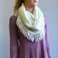A Waffleknit Infinity Scarf in Ivory