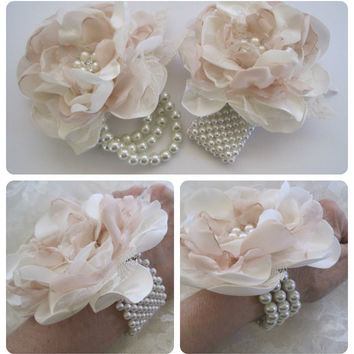 Ivory and Champagne Romantic Rose Pearl Wrist Corsage Cuff Bracelet Bride Bridesmaid Mother of the Bride with Pearl and Rhinestone Accents