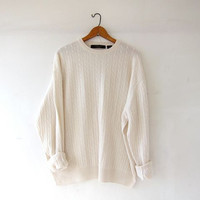 vintage cashmere sweater. oversized sweater. creamy white soft sweater. cable knit sweater. boyfriend sweater