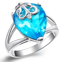 18K White Gold Plated Flower on Blue Teardrop Crystal Cocktail Ring