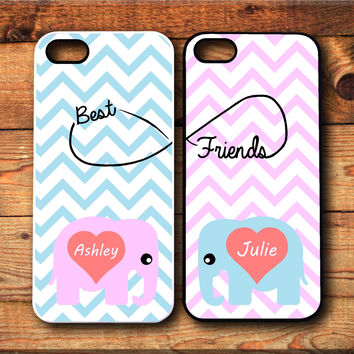 2 iPhone 5/5S, iPhone 5c, iPhone 4 4s, Samsung Galaxy S3 S4 case Cute Elephants Best friends Forever BFF Infinity Protective Case Christmas