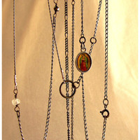 Sterling mixed chain and tiny icon necklace