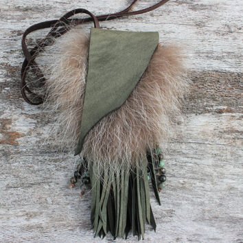 Small Green Medicine Bag with Coyote Fur, Goat Leather, Obsidian, Labradorite, Turquoise, Shaman Necklace Pouch