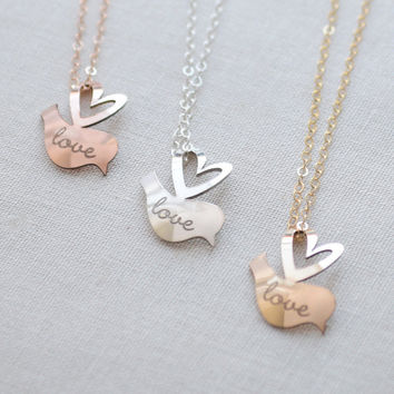 Personalized Lovebird Necklace - engraved name necklace, silver, gold, rose gold - 1368