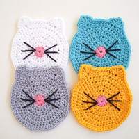 Crochet Cup Coasters Cat Butt Cat Face Crochet Cat Coasters Pet Lover Cat Lover Kitty Coasters Pet Owner Animal Coasters Doilies Funny gifts