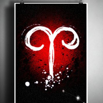 Aries zodiac sign art, horoscope symbol artwork, fire element