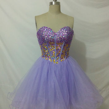 Purple Gold Rhinestone Beaded Corset Top Short Strapless A Line Prom Dress