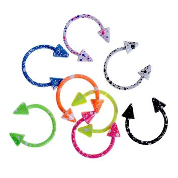 8PCS/Pack Colorful Stainless Steel Eyebrow Nose Lip Captive Bead Ring Tongue Piercing Tragus Cartilage Earring Body Jewelry