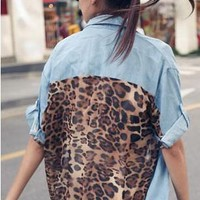 Denim Leopard Button up blouse