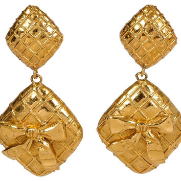 Chanel Dangle Bow Clip Back Earrings
