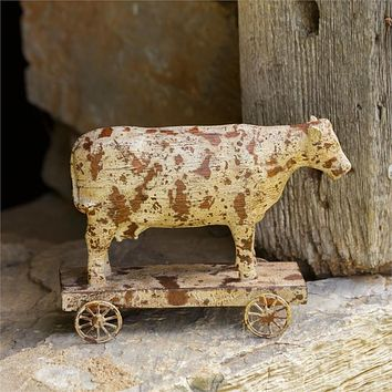 Rustic Cow on Pull Cart Figure