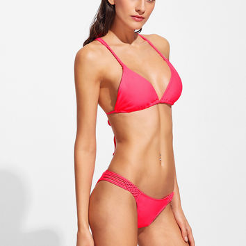 Red Criss Cross Strappy Bikini Set