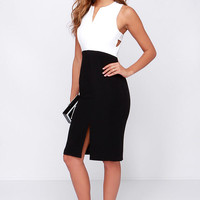 Make It a Double Ivory and Black Midi Dress