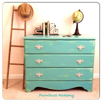 Aqua and Mint Green vintage dresser- made to order- shabby chic and rustic painted furniture