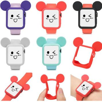 Cute Cartoon Mouse Ears Soft Silicone Protective Case for Apple Phone watch for Watch Phone Case 2 Colorful Cover Capa 38mm 42mm