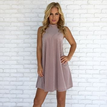 Kiss Me Velvet Shift Dress in Lavender