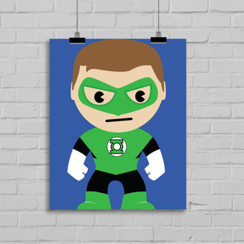 Green Lantern Art - Superhero Art, Instant Download , PRINTABLE 8x10, Kids Wall Art , Nursery Wall Art, Playroom Art