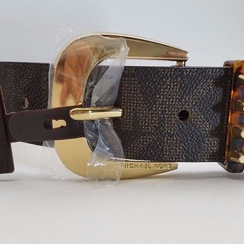 Michael Kors Womens Buckle Brown Logo Wide Belt Gold Tone S