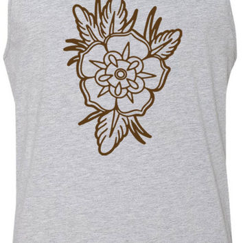 Old School Floral Tattoo (Brown) Tank-Top T-Shirt