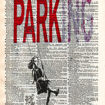 Banksy wall art, Parking, girl on swing, dictionary art print