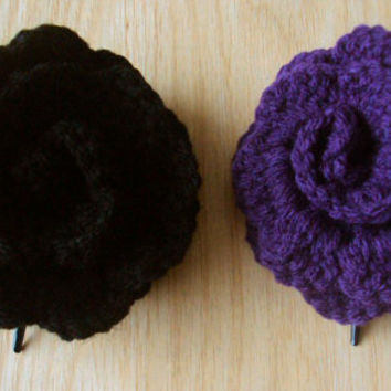 Crocheted Rose Hair Clip Set - Black and Purple - Alternative / Goth / Emo / Punk