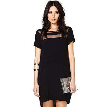Mesh Neckline Detailed Loose Casual Dress