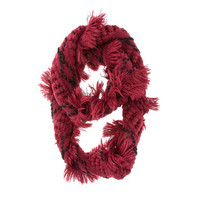 Chunky Knitted Burgundy Infinity Scarf