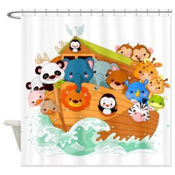 Whimsical Noah's Ark Shower Curtain> Decorator Shower Curtains> MORE PRODUCTS-CLICK HERE-GetYerGoat.com