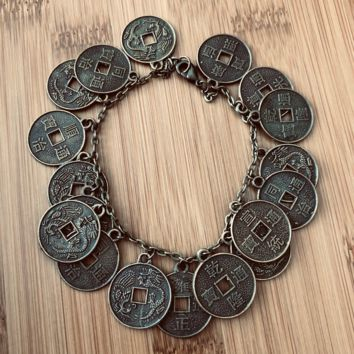 Chinese Gold Coin Charm Bracelet