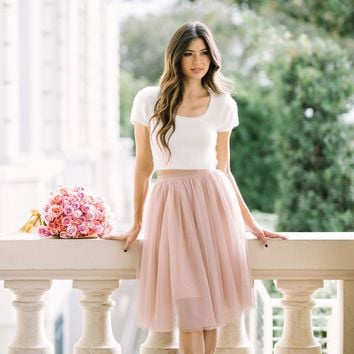Eloise Dusty Rose Tulle Midi Skirt