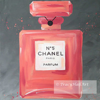 "Chanel Art Perfume Painting Chanel No. 5 Coral Gray Iconic Fashion Art Canvas 16"" x 20"""