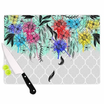 """Famenxt """"Watercolor Spring"""" Gray Floral Cutting Board"""