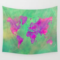 world map 117 green purple #worldmap #map Wall Tapestry by jbjart