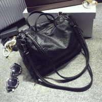 Genuine Leather Motorcycle Large Crossbody Shoulder Handbag Travel Bag